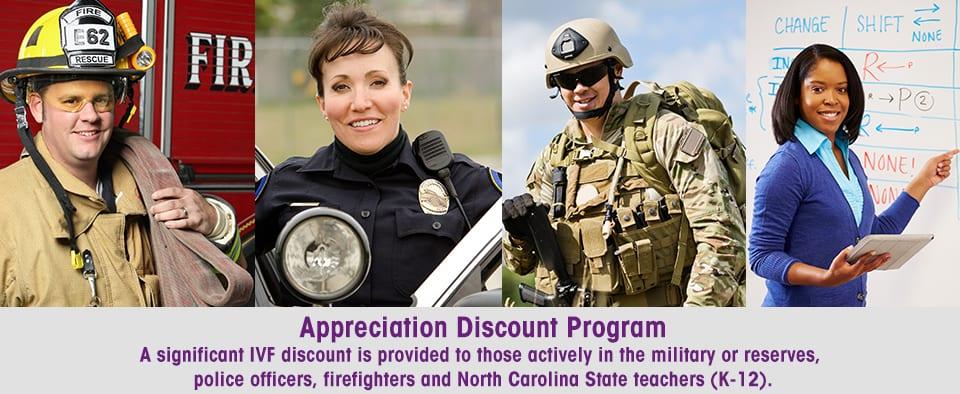 Atlantic Reproductive's Appreciation Discount Program includes military discounts and teacher discounts for fertility treatment.
